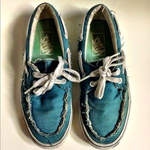 VANS Distressed Blue Teal Boat Lace Shoes Sneakers