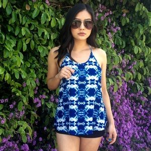 Blue & White Printed Tank