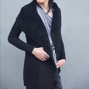 Rue21 Sweaters - ⚫️Black Fur Lined Cardigan Sweater Longsleeve NEW