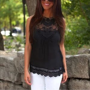 Tops - Black Lace Cotton Tank - Tunic, Perfect Top!