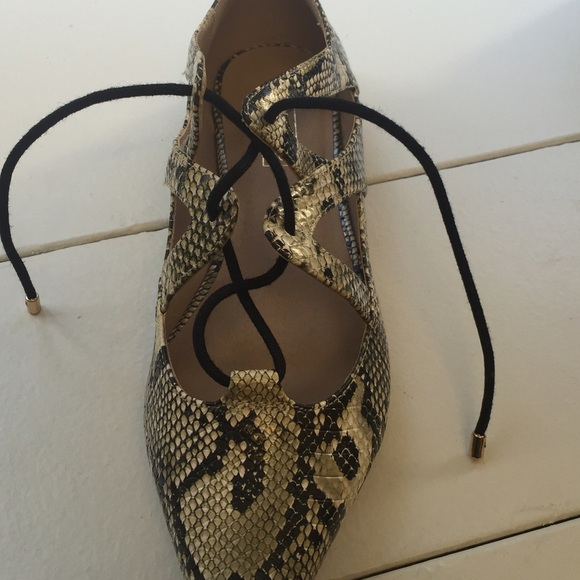 Topshop Shoes - Snake skin lace up flats