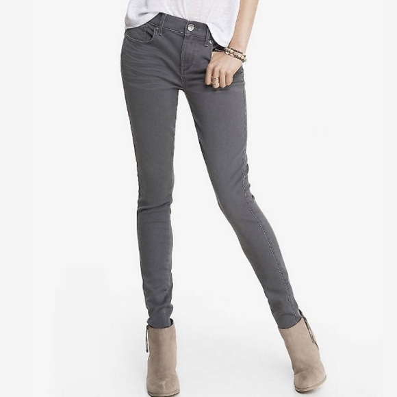 81% off Express Denim - Express Gray Mid Rise Extreme Stretch Jean ...