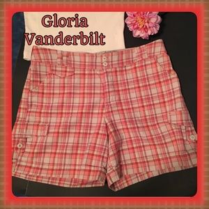 Gloria Vanderbilt Pants - Gloria Vanderbilt Coral Plaid Shorts Like New! 12