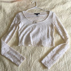 NWT white lace long sleeve crop top