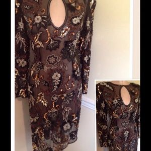 Vintage Silk Heavy beaded/ Sequins Gown  7/8 9/10