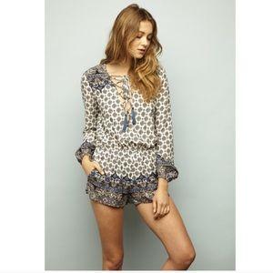 Pants - Boho Printed Lace Up Long Sleeve Romper - Blue