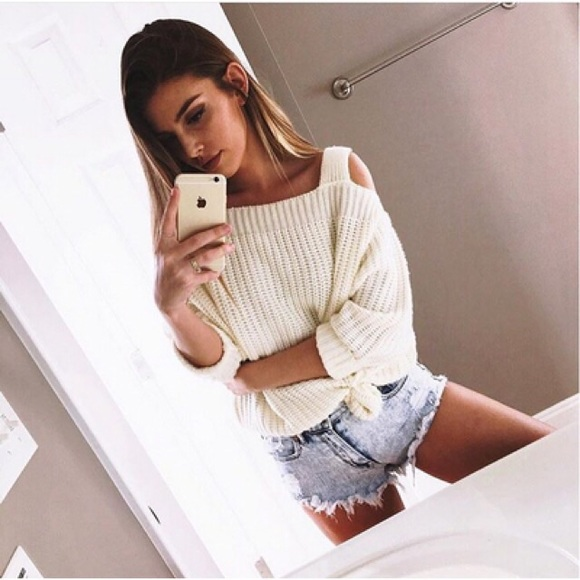41% off Nasty Gal Sweaters - Shrug It Off Ivory Cold Shoulder Knit ...