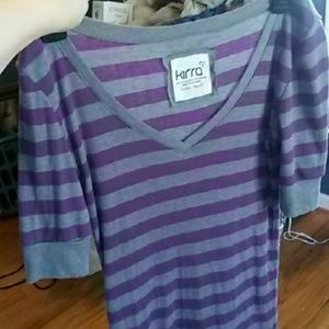 Purple and gray striped tee!