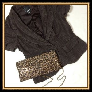 Handbags - leopard:  black, brown, gold clutch/ cross body