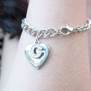Jewelry - Silver Monogram Initial C and Heart Charm Bracelet
