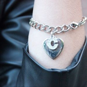 Silver Monogram Initial C and Heart Charm Bracelet