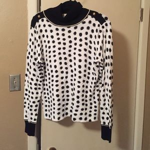 Black & white sweater with gold trim