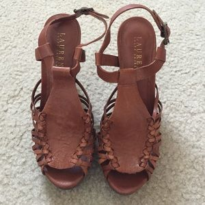 Ralph Lauren brown leather heels