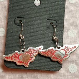 Harlow Jewelry - Harley Davidson red winged heart charms earrings