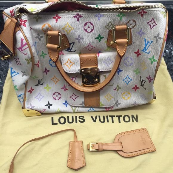 7c6cd80cccef2 Louis Vuitton Handbags - Louis Vuitton white multicolor speedy 30