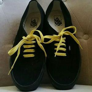 Black Vans With Yellow Shoe Laces Mens