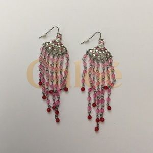 Jewelry - Pink and red chandelier earrings
