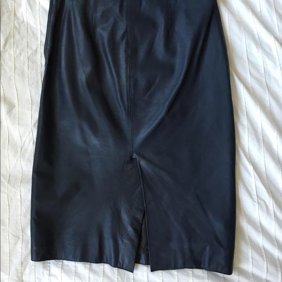 75% off Zara Dresses & Skirts - ZARA 100% leather petrol navy blue ...