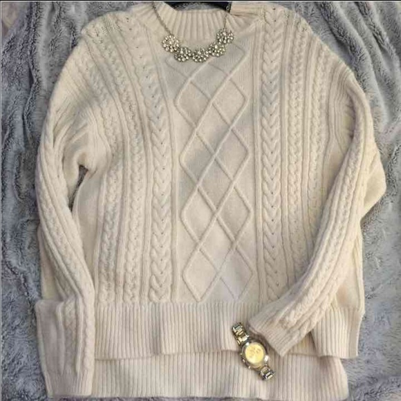 Old Navy Sweaters Oversized Cream Cable Knit Sweater Poshmark
