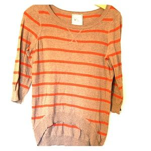 Hi-low stripped thin sweater