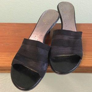 Cute black slip-on shoes, kitten heels. 9.5