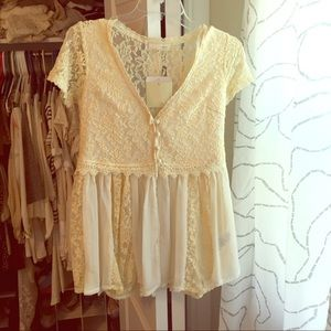 Areve Tops - Areve  cream and white lace top