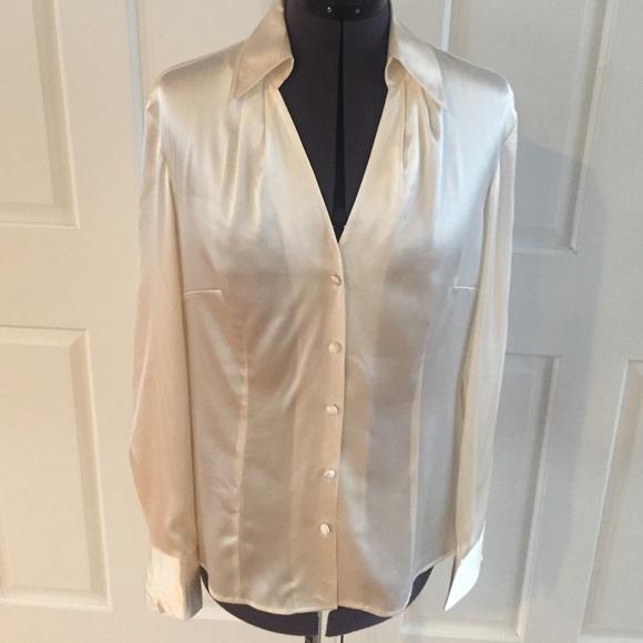 79d9d42f404783 Ann Taylor Tops - Ann Taylor ivory silk satin button down blouse