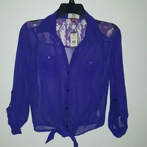 l e i Tops - Last Call Donating 4/30  Boho Sheer Top Lace Back