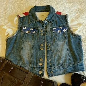 "Lei Jackets & Blazers - "" FINAL PRICE"" Jean  vest in stars and strifes"