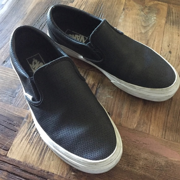 Vans black perforated leather slip on sneakers. M 5712ce704225bec08600fa55 1d2b7b9d2