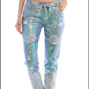 sequined  ripped denim joggers