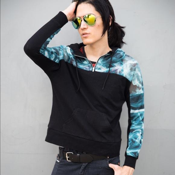 Hot Topic Sweaters - 🆕Black Blue Fishnet Mesh Sleeve Hoodie Jacket NEW