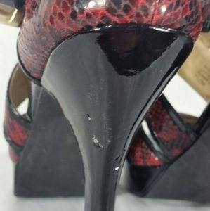 MICHAEL Michael Kors Shoes - MICHAEL KORS Red Snake Skin Pattern Leather Heels
