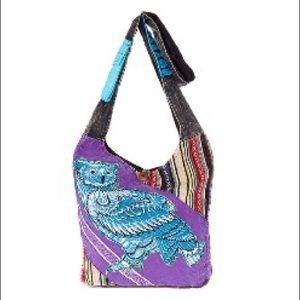 Rising International Handbags - Hand crafted Blue and Purple Owl Cross Body Bag.
