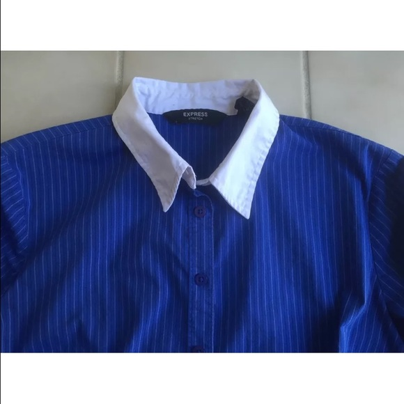 77 Off Express Tops Express Royal Blue Striped Button