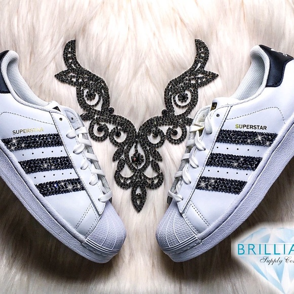 2eea879c6a0f Swarovski Adidas Superstars White + Black Stripes