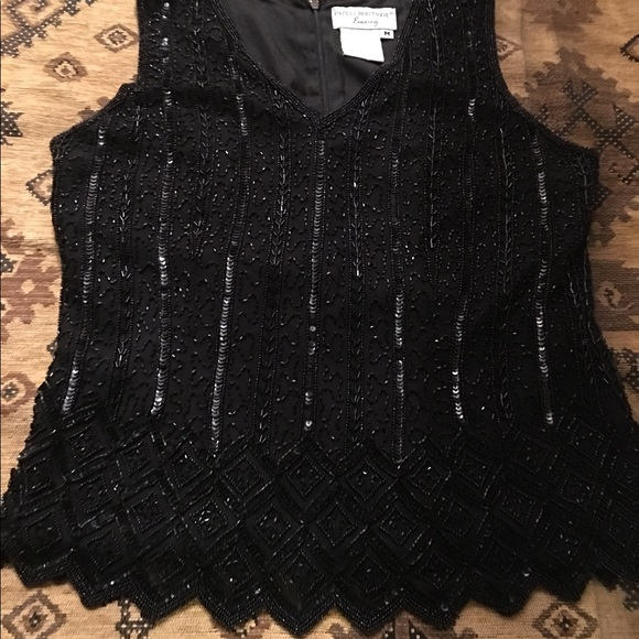 Macys Tops Pretty Beaded Dressy Blouse Poshmark