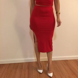 Dresses & Skirts - Red High Slit Midi Skirt