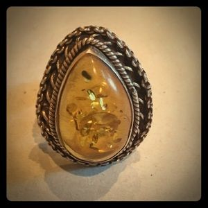 Large Genuine Amber & Sterling Silver Ring-7 & 7.5