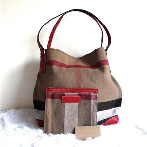 NEW Burberry Medium Exploded Check Canvas Tote