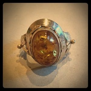 Large Genuine Amber & Sterling Silver Ring- 9.5