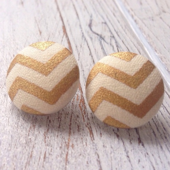 Abbie\'s Anchor Jewelry | Gold White Chevron Fabric Button Earrings ...