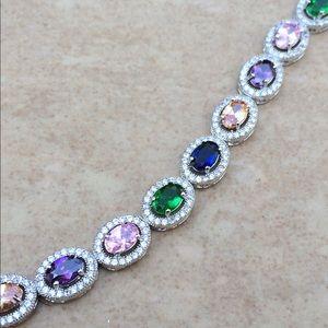 Rhodium Plated Multi-Color CZ Halo Tennis Bracelet