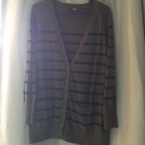 Olive green and black stripped cardigan