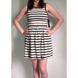Relished Dresses & Skirts - Black & Cream Striped Dress