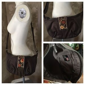 Brown Embroidered Canvas Crossbody ~ DV Collection