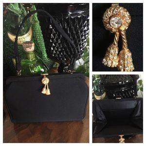 VTG 50's Black Fabric Handbag w Rhinestone Tassel