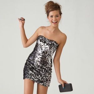 As U Wish Strapless Black/Silver Sequin Dress