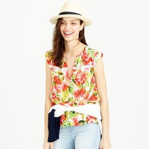 J. Crew Tops - 🆕 NWT J.Crew Collection Silk Blouse in Hibiscus