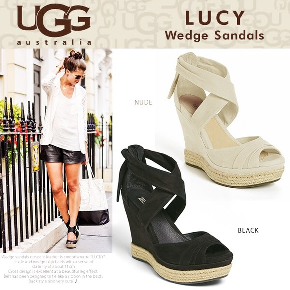 ✨Ugg Lucy Ribbon Wedge Espadrille 8 - Worn once✨